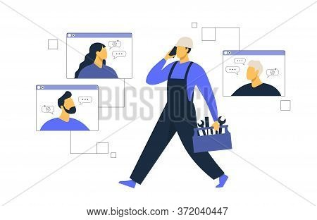 Customer Service, Male Hotline Operator Advises Client, Online Global Technical Support, Customer An