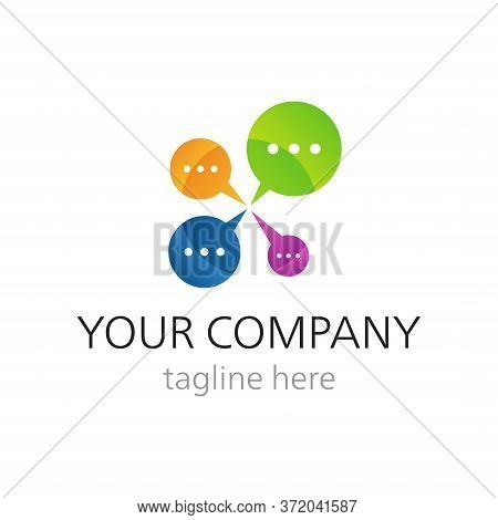 Vector Logo For Call Center Or Online Support With Four Colorful Diaog Boxes