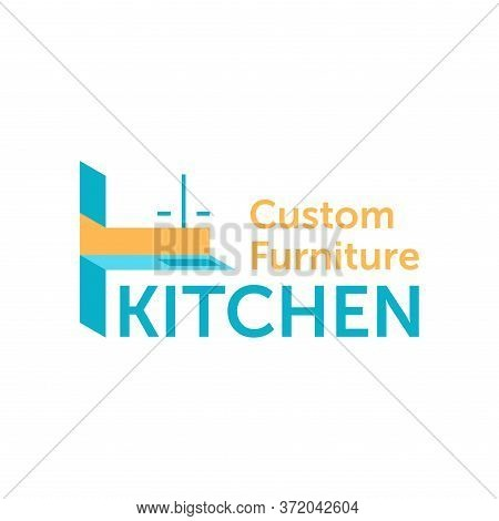 Custom Or Factory Kitchen Cabinet Furniture Logo - Creative Isometric Form And Counter-form Decorate