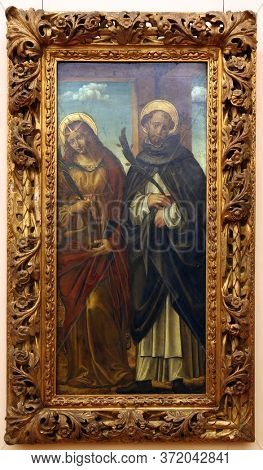 ZAGREB, CROATIA - DECEMBER 08: Befendente Ferrari: St. Catherine of Alexandria and St. Peter Martyr, December 08, 2014 in Zagreb, Croatia
