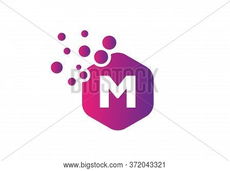 Letter M Hexagon Bubbles Vector. M Letter Logo Design Vector With Dots And Colorful Hexagon.