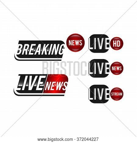 Vector Tv News Banner Interface , News Label Strip Or Icon, Live News, Breaking News, Full Hd, Ultra