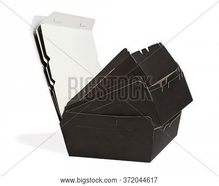Stack of Empty Takeaway Paper Boxes on White Background