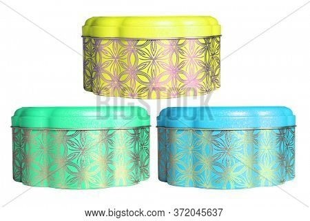 Chiese New Year Metal Container for Cookies on White Background