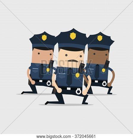 Police Officers Kneeling Cartoon Character. Vector Illustration