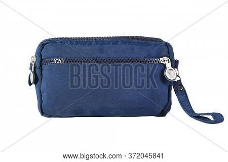 Blue Hand Bag with Handle on White Background