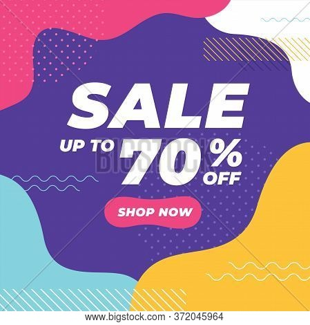 Sale Up To 70% Off With Colorful Geometric Shapes Banner.
