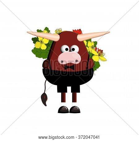 Bull Character, Cartoon Bull. Symbol 2021. Ox. Cute Bull Vector Illustration On A White Background