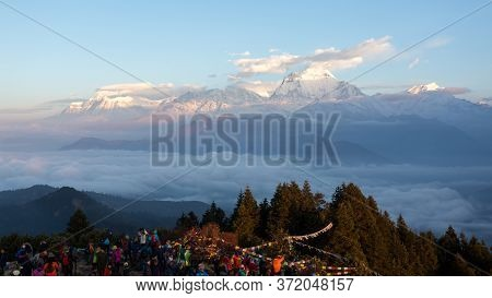 Annapurna, Nepal - November 14, 2018: Tourists Meeting The Dawn On Poon Hill (3210 M). It's The Famo