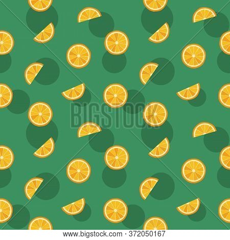 Orange Slice On Green Background, Seamless Summer Vector Pattern. Fruit Juicy Vector Print For Appar
