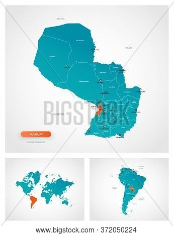 Editable Template Of Map Of Paraguay With Marks. Paraguay On World Map And On South America Map.