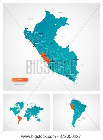 Editable Template Of Map Of Peru With Marks. Peru On World Map And On South America Map.
