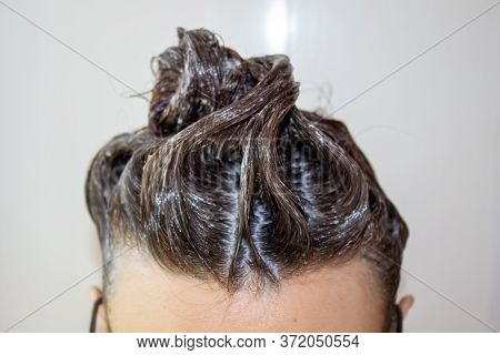 The Process Of Hair Coloring, Hair Coloring, Hair Colouring In Process, Woman Gets New Hair Colour.