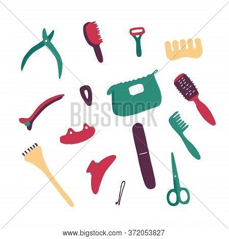 Beauty Salon Accessories And Equipment. Woman Accessory Icon Set. Objects For Skin, Hair, Nail Care.