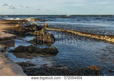 Baltic Sea Rocky Beach View Waves Crossing
