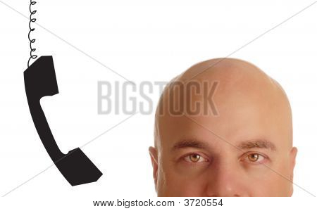 head of bald man with phone receiver dangling beside his ear poster