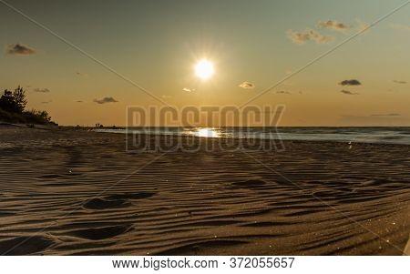 Baltic Beach White Sand Coastline At Sunset Time