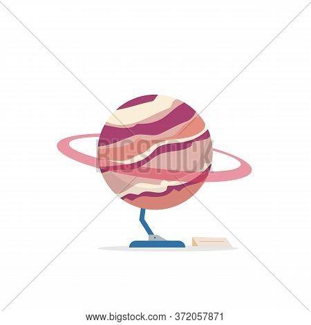 Saturn Cartoon Vector Illustration. Astrology Exposition Installation. Planetarium Showcase Piece. C