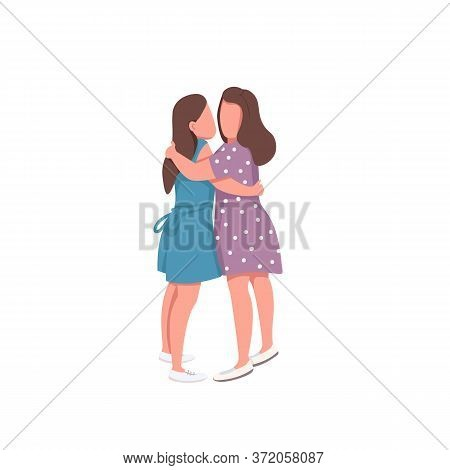 Cute Girl Couple Flat Color Vector Faceless Characters. Romantic Relationship. Sibling Love. Happy F