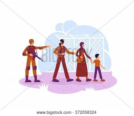 Refugees And Guard 2d Vector Web Banner, Poster. Migrants Family Crossing Country Border Flat Charac