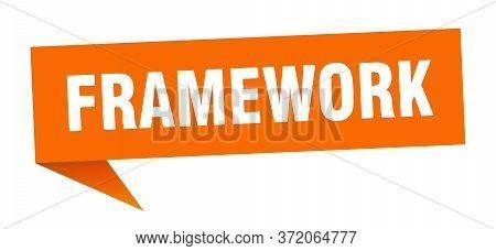 Framework Speech Bubble. Framework Orange Ribbon Sign.