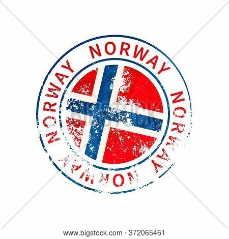 Norway Sign, Vintage Grunge Imprint With Flag On White