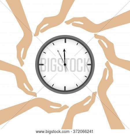Clock In The Middle Of Human Hands Vector Illustration Eps10