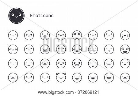Cute Emoticons Thin Line Icons. Vector Set Of Modern Linear Style Smiley Symbols. Simple Illustratio