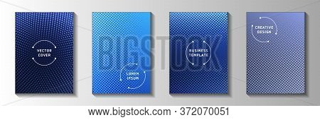 Tech Dot Screen Tone Gradation Cover Page Templates Vector Collection. Business Notebook Faded Scree