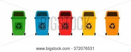 Garbage Bins Flat Icon. Recycle Rubbish Concept. Vector