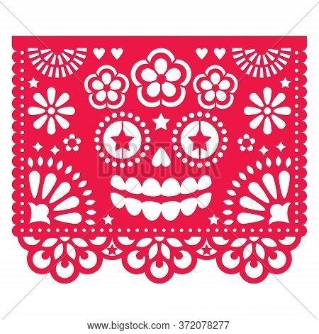 Halloween Papel Picado Design With La Catrina Skull, Mexican Paper Cut Out Pattern - Dia De Los Muer