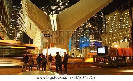 New York City - Circa2019: Shoppers And Commuters Walk Around  The Oculus By Santiago Calatrava Futu