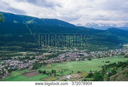 View Of The City Of Mestia, Georgia, Svaneti From The Mountain. View Of The Village From Above. High
