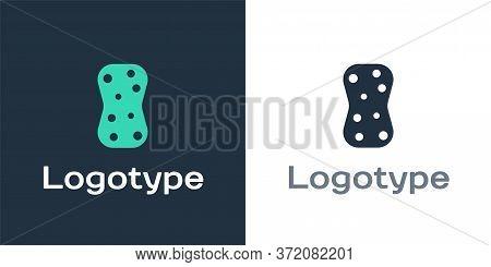 Logotype Sponge With Bubbles Icon Isolated On White Background. Wisp Of Bast For Washing Dishes. Cle