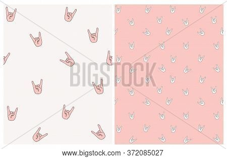 Seamless Vector Pattern With Hell Yeah Symbol. Light Pink Hands On A Off-white Background. Funny Irr