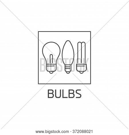 Vector Logo, Badge And Icon For Bulbs Waste. Reusable Product Sign Design. Symbol Of Sorting Garbage