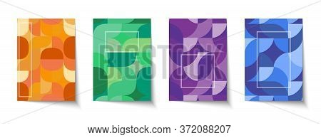 Retro Graphic Design Covers In Red, Blue, Green And Orange Colors. Set Of Cool Abstract Vintage Shap
