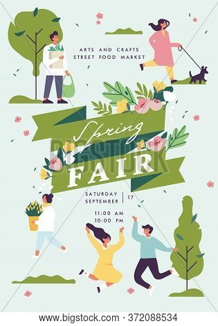 Vector Spring Fair Poster, Flyer Or Banner Or Banner Template With People Enjoying Their Time Outdoo