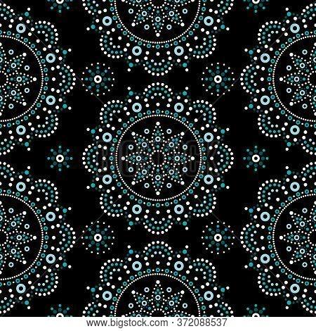 Aboriginal Dot Painting Mandala Seamless Vector Pattern, Bohemian Mandala Vector Dot Art, Retro Folk