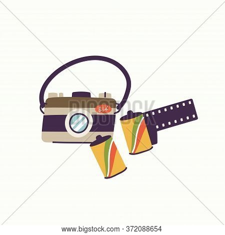 Vector Illustration Of Vintage Photo Camera With Photo Photo Rolls In A Tube. Retro Camera Device.