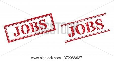 Grunge Jobs Rubber Stamps In Red Color. Seals Have Rubber Texture. Vector Rubber Imitations With Job
