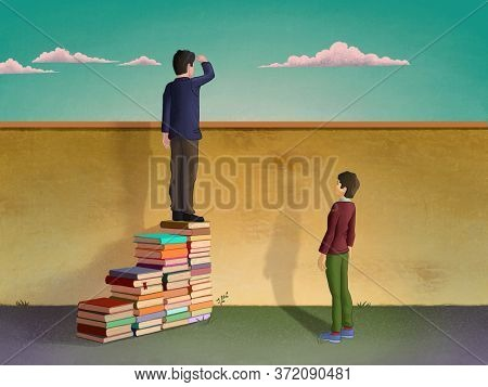 Man using piles of books to create a stair and look over a wall. Digital illustration.