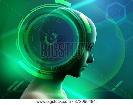 Human head with some high technology interface elements. Digital illustration.