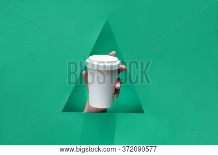 Green Paper Background, Keep Cup Mockup With Copy Space. Stylish Reusable Eco Coffee Travel Mug, Bam