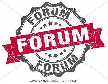 Forum Stamp. Forum  Round Retro Ribbon Sign Seal