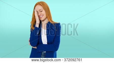 Woman Do Face Palm, Girl Make Facepalm, Female Migraine, Head Pain, Bad Feeling, Tired Woman - Blue