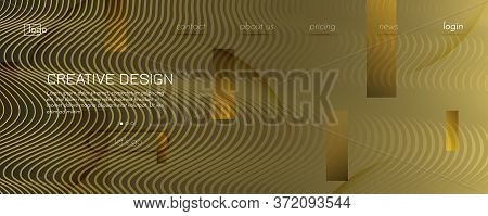 Abstract Vector Curve. Yellow Dynamic Movement. 3d Fluid Shape. Business Pattern. Golden Abstract Ve