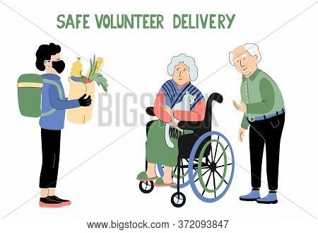 Safe Volunteer Delivery. Lettering And Illustration Of Senior Couple And A Young Man With A Protecti
