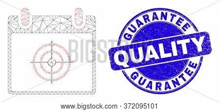 Web Mesh Target Calendar Page Pictogram And Guarantee Quality Seal Stamp. Blue Vector Rounded Distre