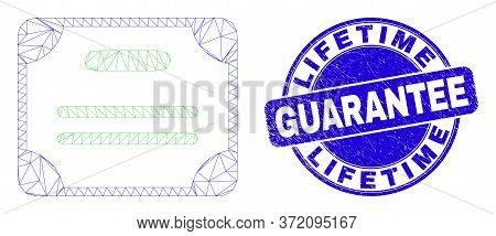 Web Mesh Certificate Diploma Icon And Lifetime Guarantee Seal. Blue Vector Round Distress Seal With